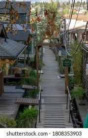 Wooden walkway to the houseboats on Lake Union in Seattle, Washington.