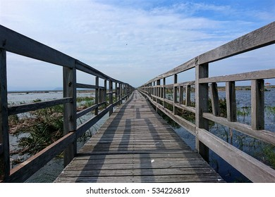 Wooden walkway in Khao Sam Roi Yot national park in Kui Buri District, Prachuap Khiri Khan Province, Thailand
