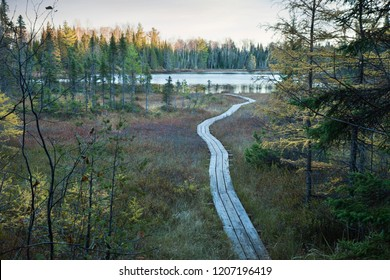 Wooden walkway leading across a bog to a small trout lake in northern Minnesota during autumn at dusk