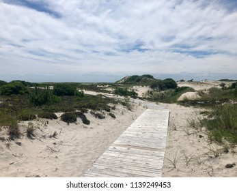Wooden walkway leading to a beach in Long Beach Island, New Jersey.