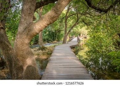 Wooden walkway in the national park near the town of Skradin, Croatia