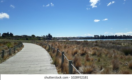 Wooden walkway on the coast of Timaru in New Zealand