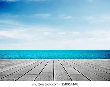 Wooden walkway on sunny day