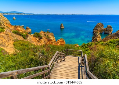 Wooden walkway to Ponta da Piedade beach, Algarve region, Portugal