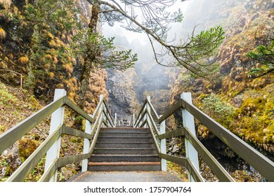 Wooden walkway It is a route that leads up to the viewpoint of Jiaozi snow Mountain. Tourist attractions of Yunnan with beautiful nature,kunming,china