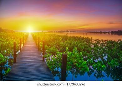 Wooden walkway at Sunrise.Beautiful sunset.Beautiful sunrise.Light at the destination.