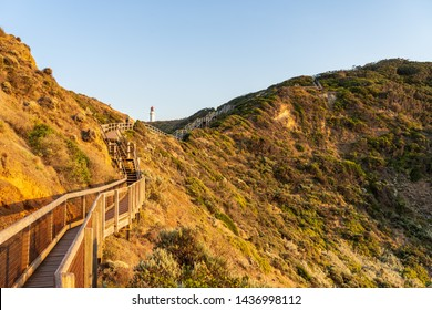 Wooden walkways lead toward Cape Schank Lighthouse on the Mornington Peninsula