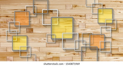 Wooden Wall with 3D Square pattern Wallpaper
