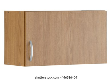 Wooden wall cabinet isolated on white background. Include clipping path