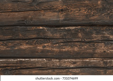 Wooden wall, dark brown wood floor, old brown wood background.