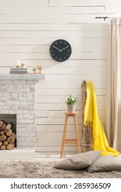 wooden wall with fireplace style