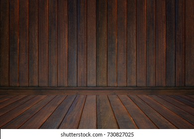 Wooden wall and floor in perspective view, grunge background. vintage tone, product display template.