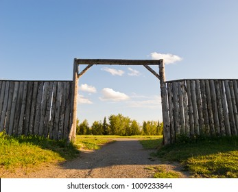 Wooden wall and gate of an old fort