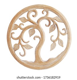 wooden wall hanging decor isolated on white background. carving and details of modern boho bohemian, scandinavian and minimal style
