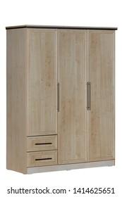 Wooden wardrobe isolated on white background