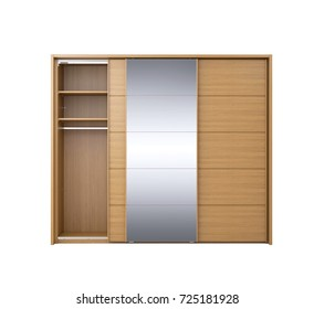 Wooden wardrobe isolated over white