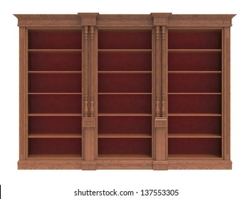 Wooden wardrobe with shelves on a white background