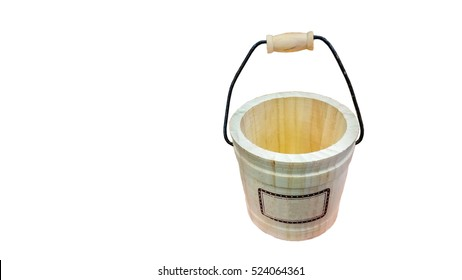 Wooden water Bucket with a Handle isolated on the white background and  Clipping Path . LOFT - Style