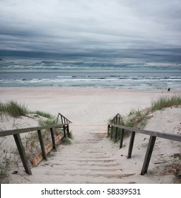Wooden way to the beach on baltic sea