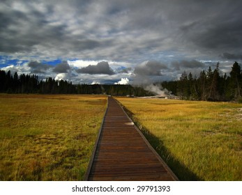 Wooden way in Yellowstone, USA