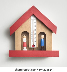 Wooden Weather House Barometer