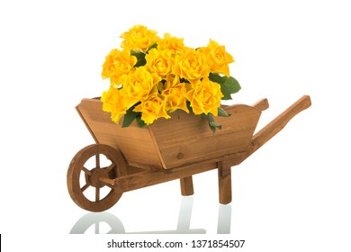 Wooden wheel barrow with bouquet yellow roses