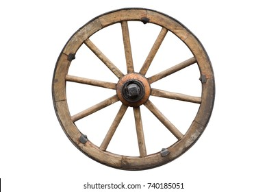 wooden wheel isolated on white with clipping path included - Shutterstock ID 740185051