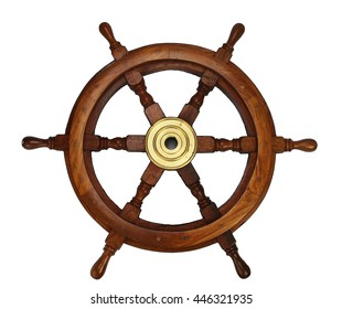 Wooden wheel made of oak with brass hub and handles for steering a ship or boat.