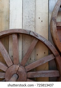 Wooden wheel on the wall of the old log house in the Russian village. Mobile photo