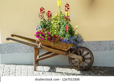 Wooden Wheelbarrow with flowers