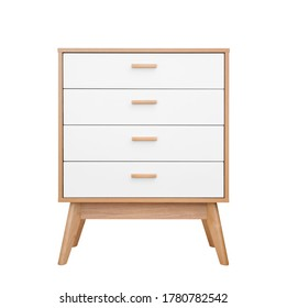 Wooden white chest of drawers front view isolated on white