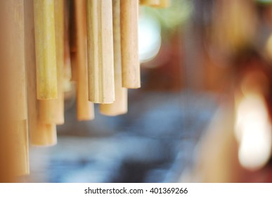 Wooden Wind Chimes on latin street market, Extreme Close-Up
