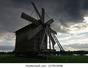 Wooden wind mill at Kizhi Pogost on Ladoga Lake in Karelia, in Russia