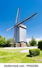 wooden windmill Drievenmeulen near Steenvoorde, Nord-Pas-de-Calais, France