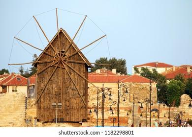 wooden windmill landmark old town Nessebar Bulgaria