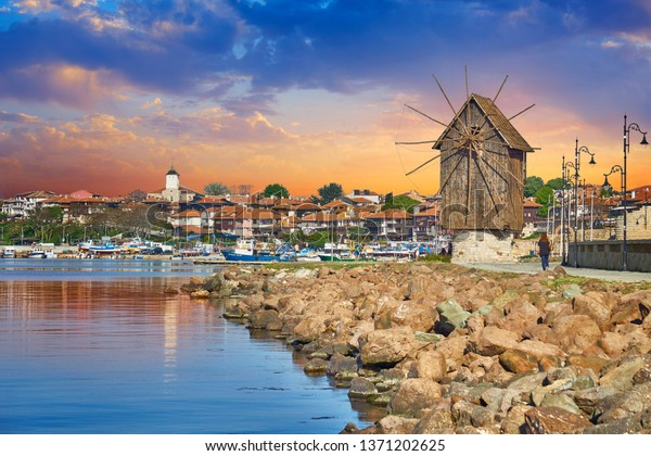 Wooden windmill, old town Nessebar, Bulgaria