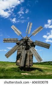 Wooden windmills in the village