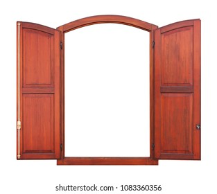 Wooden window with arch and open shutter on white background
