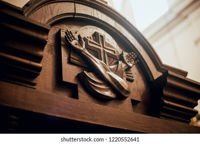 Wooden window of confessional box at church. Background