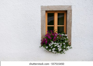 wooden window decorated with pink petunia and white pelargonium