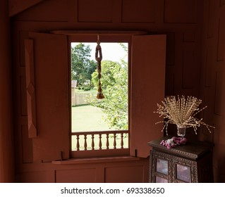 wooden window with decoration at Thai traditional house