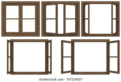Genial Wooden Window Frame Isolated On White Background.