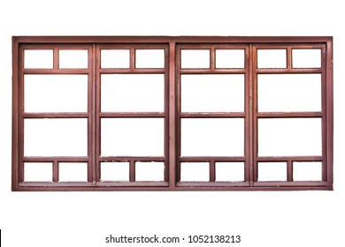 Wooden window frame of a shop  isolated on white