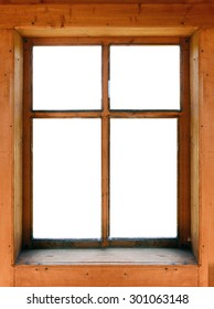 Wooden window with isolated background