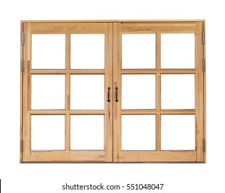 Wooden window, isolated on white background
