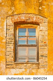 Wooden window of an old building in monastery Iviron in holy mountain Athos in Greece
