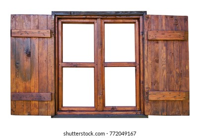 Wooden window with open shutter on white background