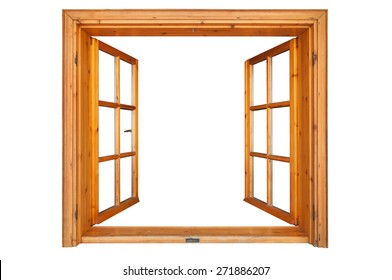 Wooden window opened isolated on white background