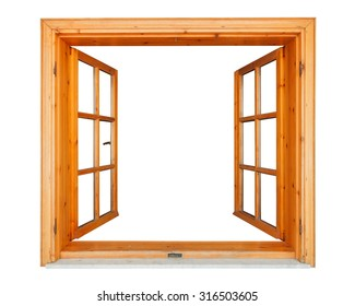 Wooden window opened with marble ledge isolated on white background