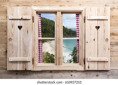 Wooden window with tropical panorama view, travel concept